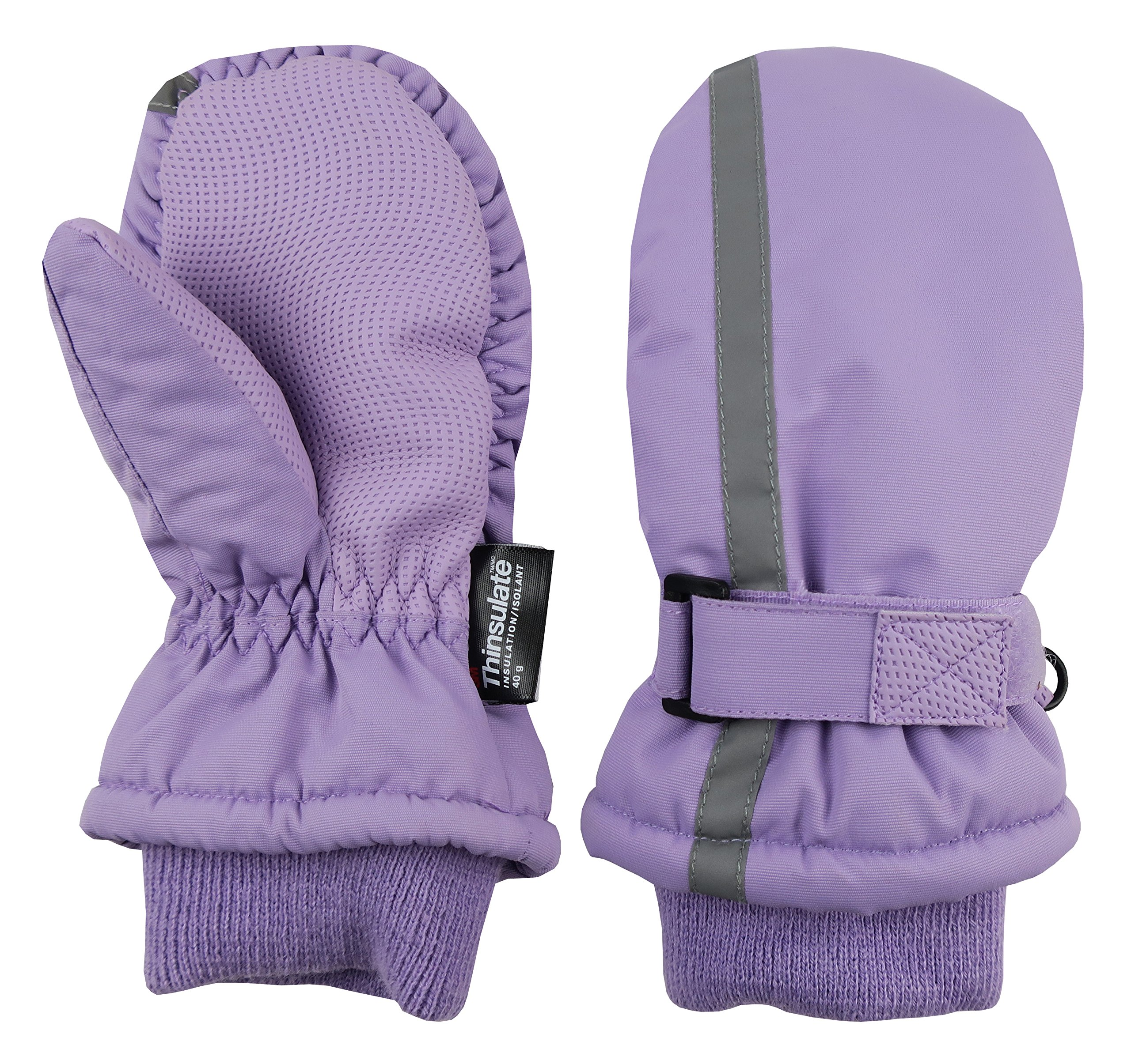 N'Ice Caps Kids Thinsulate Waterproof Reflector Winter Snow Ski Mittens (Lavender, 2-3 Years)