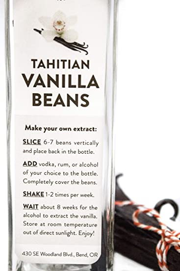 10 Tahitian Vanilla Beans in Extract Bottle, Gourmet Grade Whole Beans for Baking, Extract