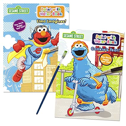 sesame street paint with water books with paint brush 2 books 1 green - Painting Games 2
