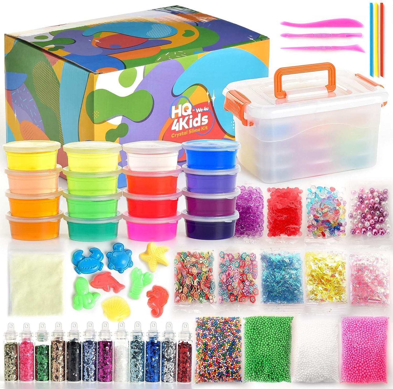 HQ4Kids por we4u: Kit de slime para niños y niñas: hacer kits de slime con brillo en la oscuridad Crystal Slimes Glitter Pack y más. Bolsas de polvo, perlas de agua en