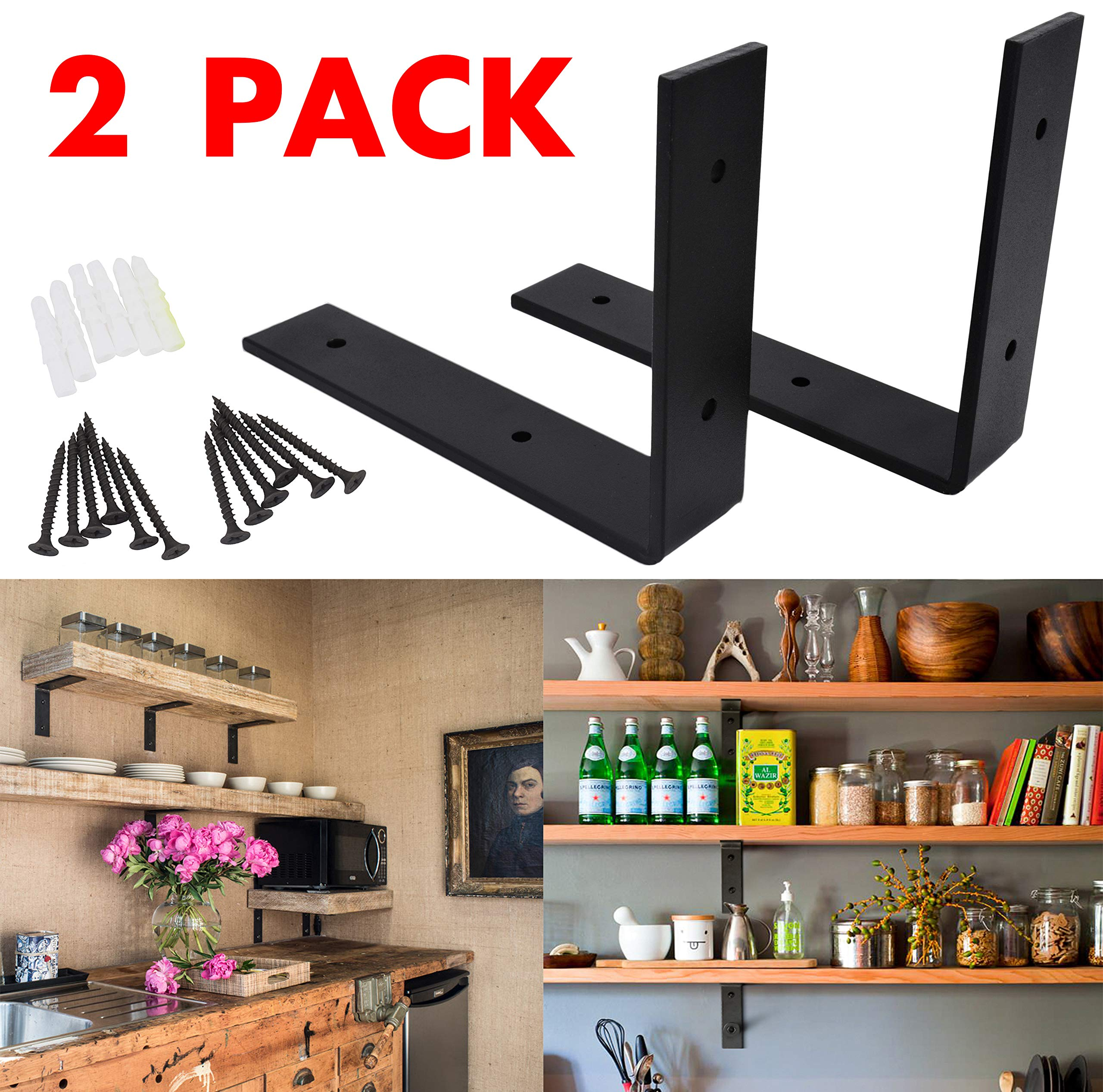 OVOV 2 Pack Iron Steel Shelf Bracket Heavy Duty Thicken L Floating Countertop Support Bracket for Wall Hanging Decorative with Free Hook Hanger (Black) 10''