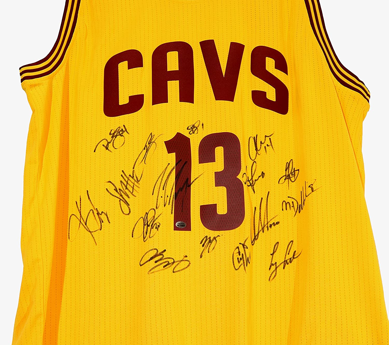 b535e002ff03 Cleveland Cavaliers Cavs 2015-16 Team Autographed Signed Yellow Jersey PAAS  COA Lebron Kyrie Love at Amazon s Sports Collectibles Store