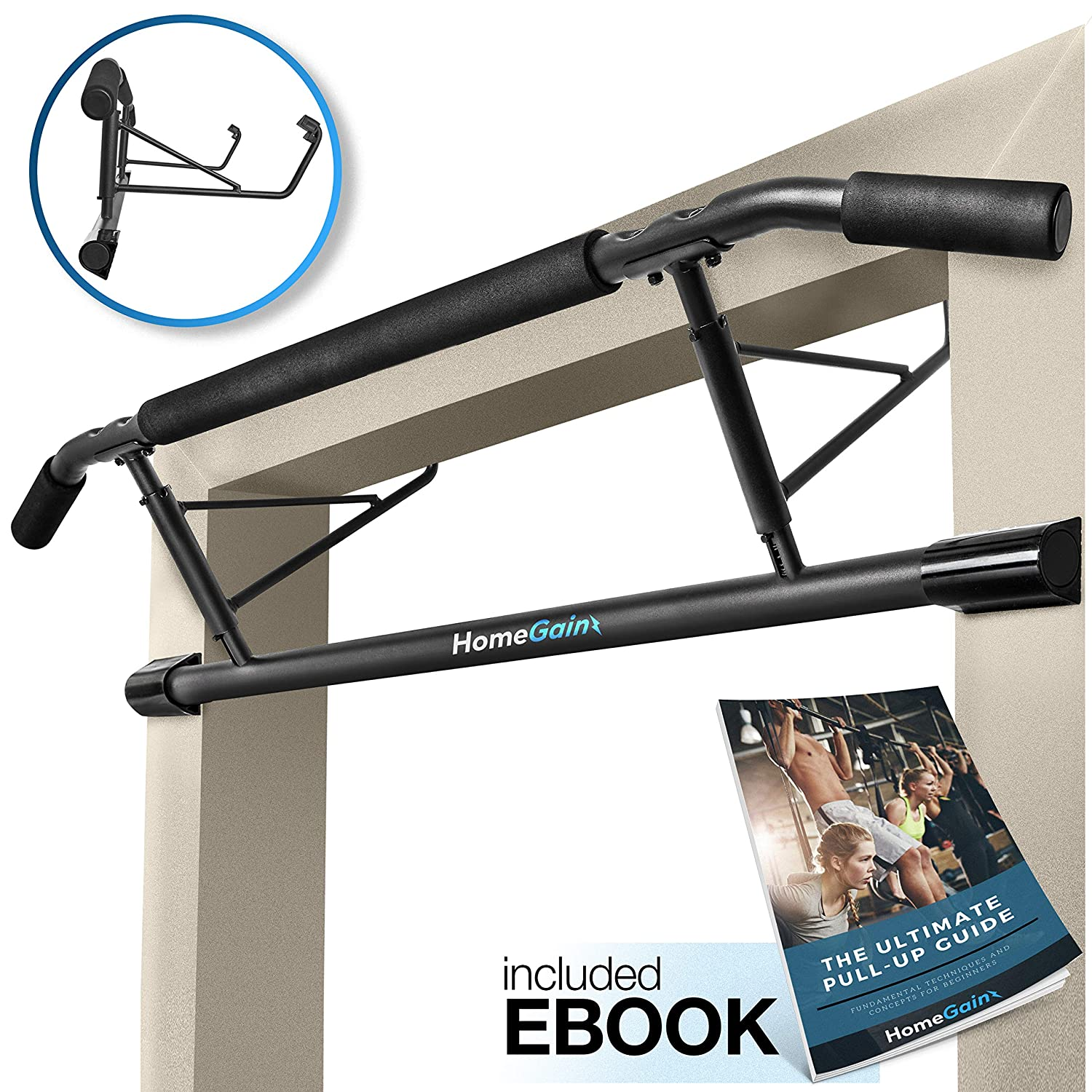 Homegainz Pull Up Bar for Doorway, No Screws, Door Chin Up Bar for Home Gym