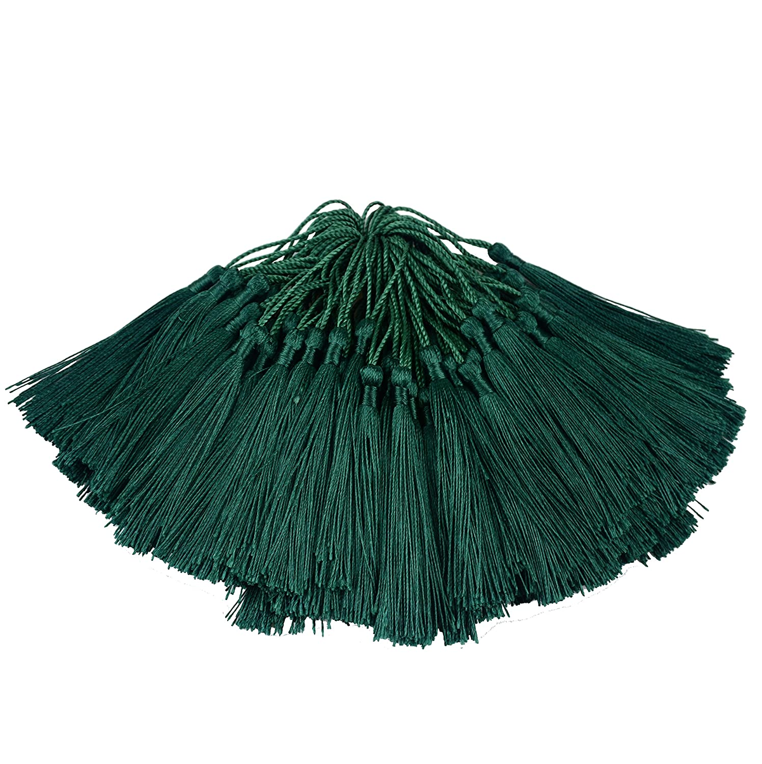100pcs 13cm/5 Inch Silky Floss Bookmark Tassels with 2-Inch Cord Loop and Small Chinese Knot for Jewelry Making, Souvenir, Bookmarks, DIY Craft Accessory (Dark Green) 91uXVzBylxL