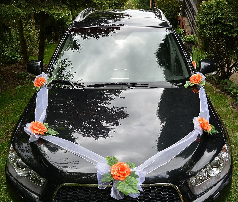 Autoschmuck autodeko hochzeit 5 rosen dekor verschieden farben komplett orange 3 kugel amazon de küche haushalt