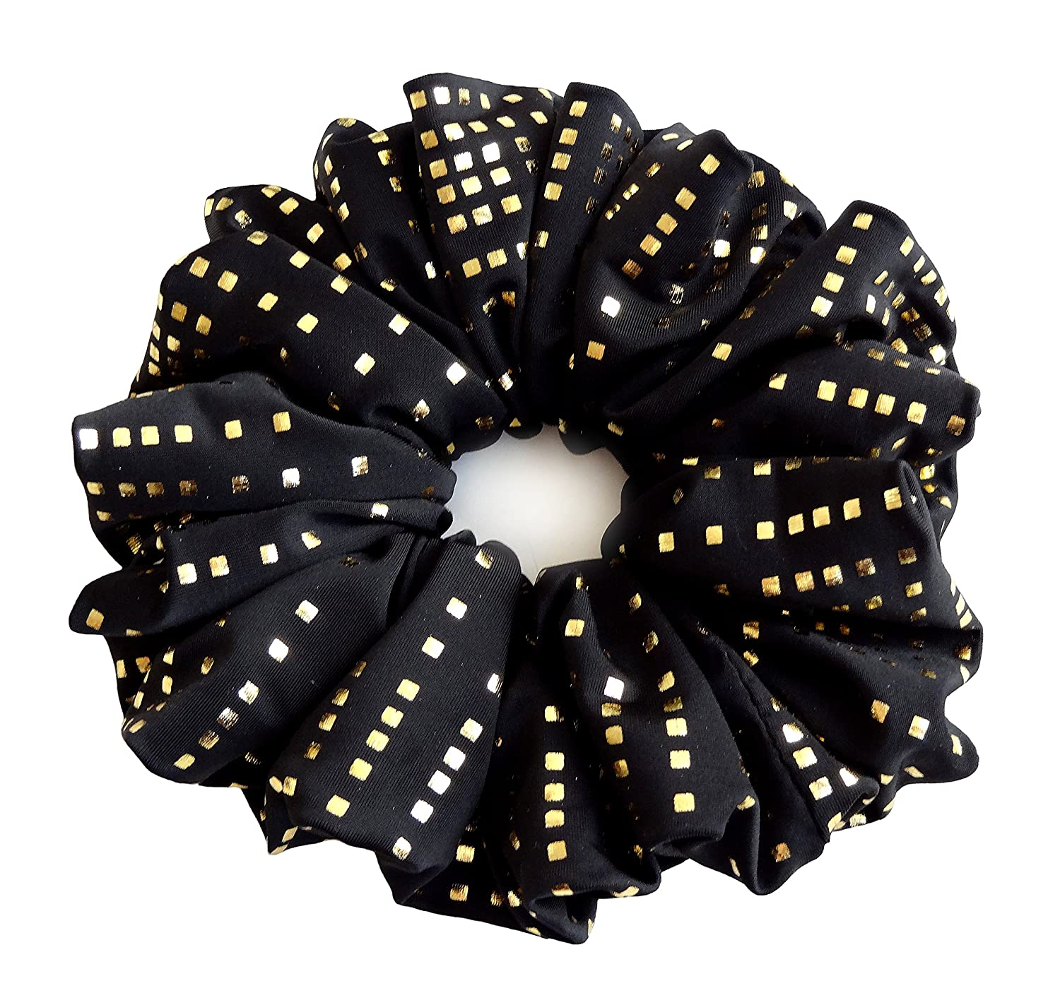 Black Golden Stretch Jersey Large Sparkle Hair Scrunchies Elastic Hair Band Ponytail Holder Teen Girls Women