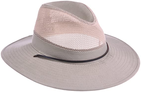8a96a751c8317 Dorfman Pacific Men s 1 Piece Brushed Twill Mesh Safari Hat With ...