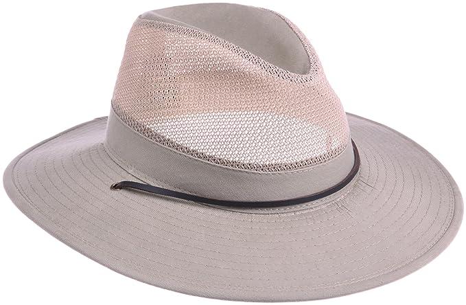156fbe14c7b Dorfman Pacific Men s Twill Mesh Safari Hat With Chin Cord