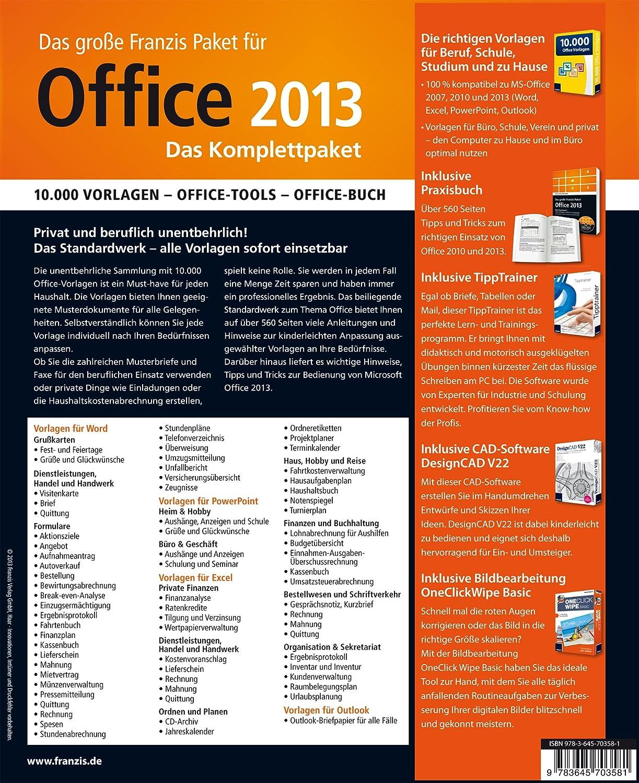 Das große Franzis Paket Office 2013 - Das Komplettpaket, DVD-ROM + ...