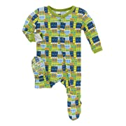 Kickee Pants Little Boys Print Footie with Snaps - Amazon Houses, 6-9 Months