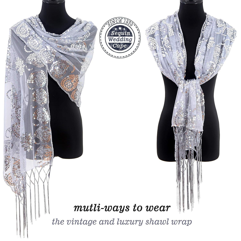 MissShorthair Womens 1920s Scarf Mesh Sequin Wedding Cape Evening Shawl Wrap