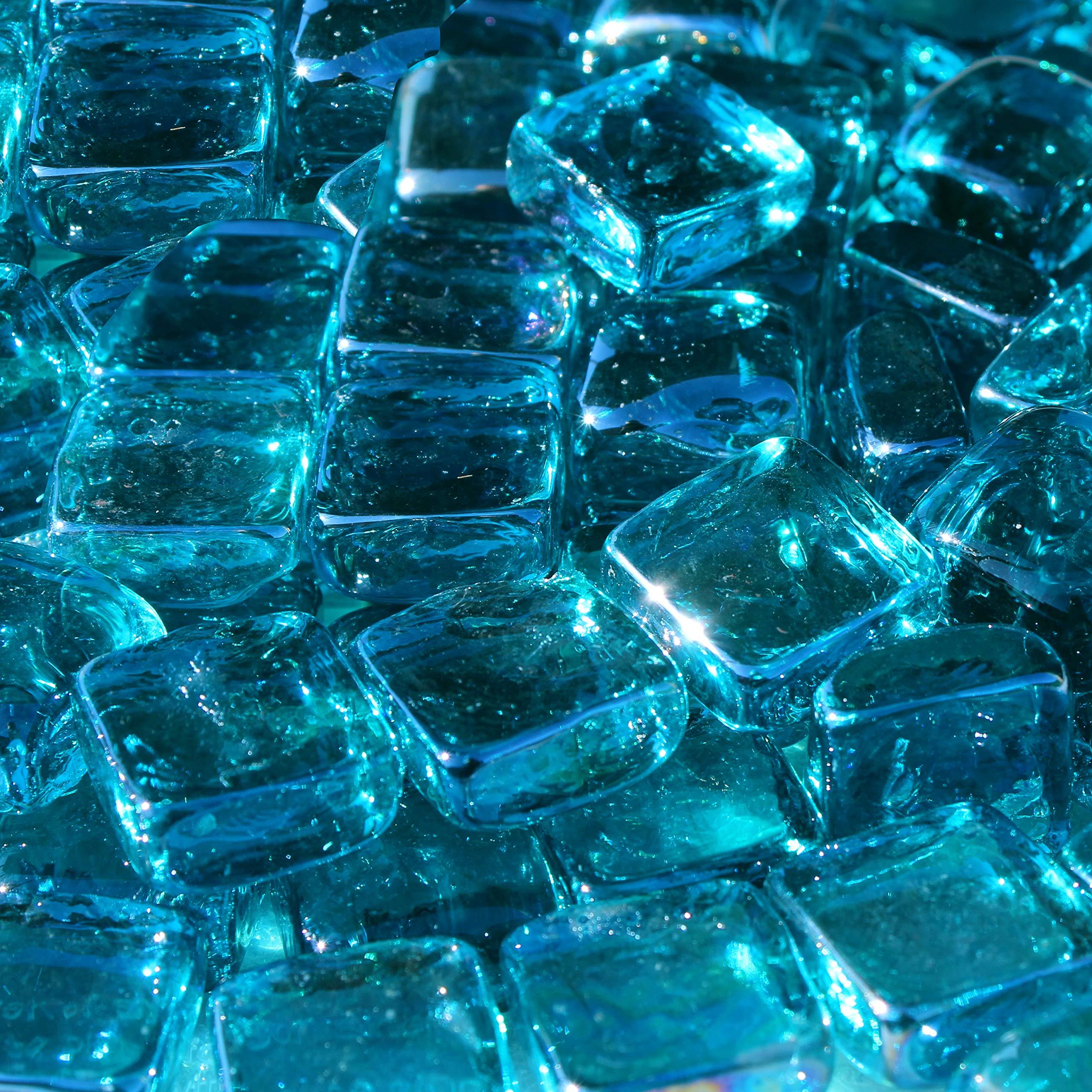 Blue Ridge Brand&Trade; Aqua Reflective Fire Glass Cubes - 20-Pound Professional Grade Fire Pit Glass - 3/4'' Reflective Glass for Fire Pit and Landscaping