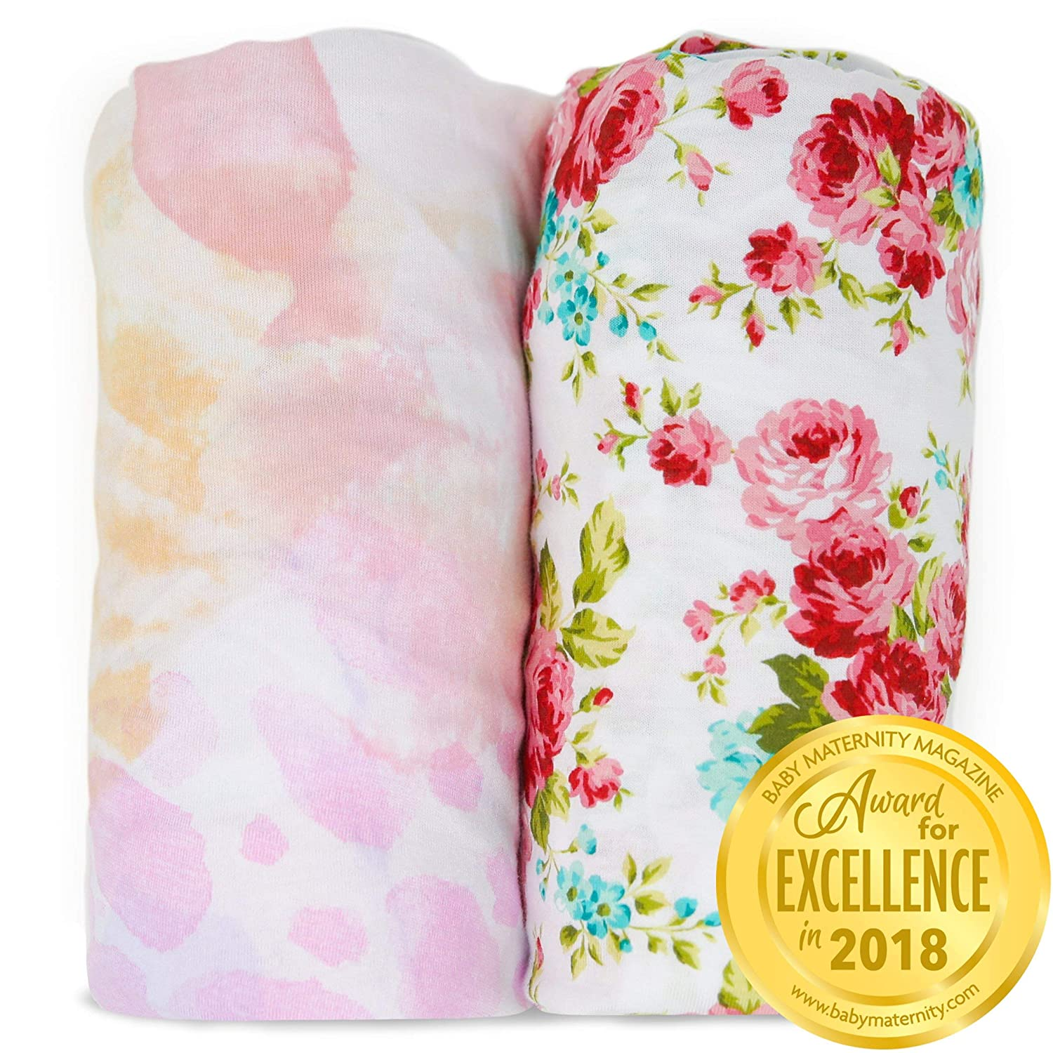Changing Pad Covers Sheets - Premium Jersey Knit Cotton Change Pad Covers - Super Soft - Safe for Babies - Diaper Changing Pad Cover for Baby Change Table Pads - 2 Pack Girl Cradle Sheet Set - Fleur