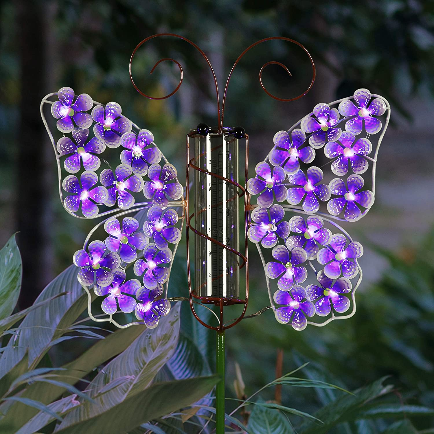 Exhart Solar Metal and Glass Purple Butterfly Rain Gauge Garden Stake, 12 by 40 Inches