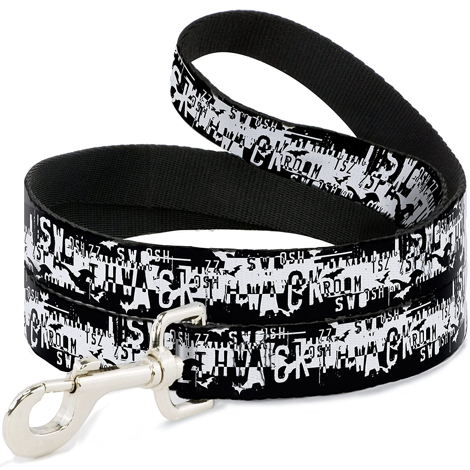 6 Feet Long 1\ Buckle-Down Batman Action Verbiage Black White  Dog Leash, 6'