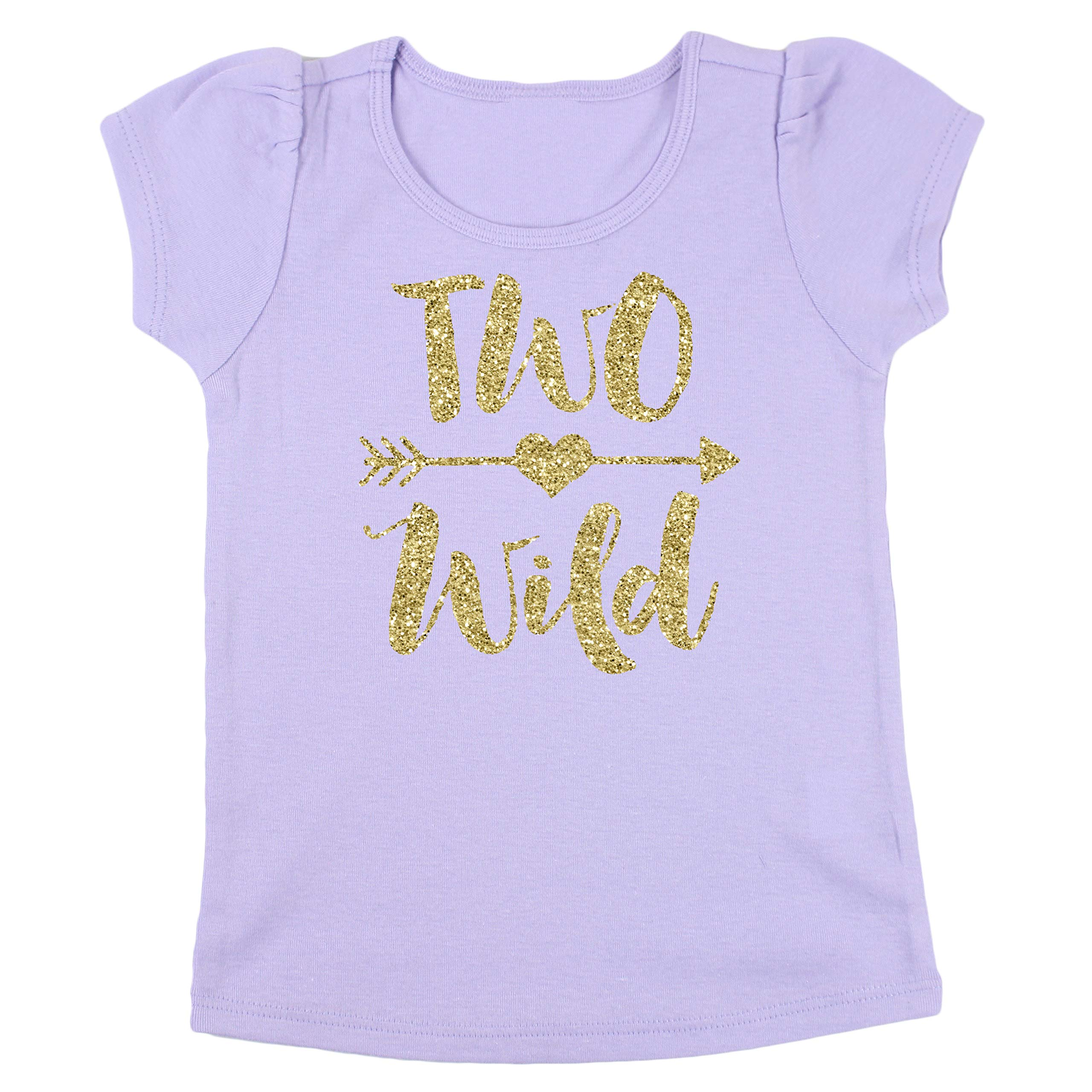 Olive Loves Apple Two Wild 2nd Birthday Shirt Girl Glitter Gold Two Wild 2nd Birthday Out