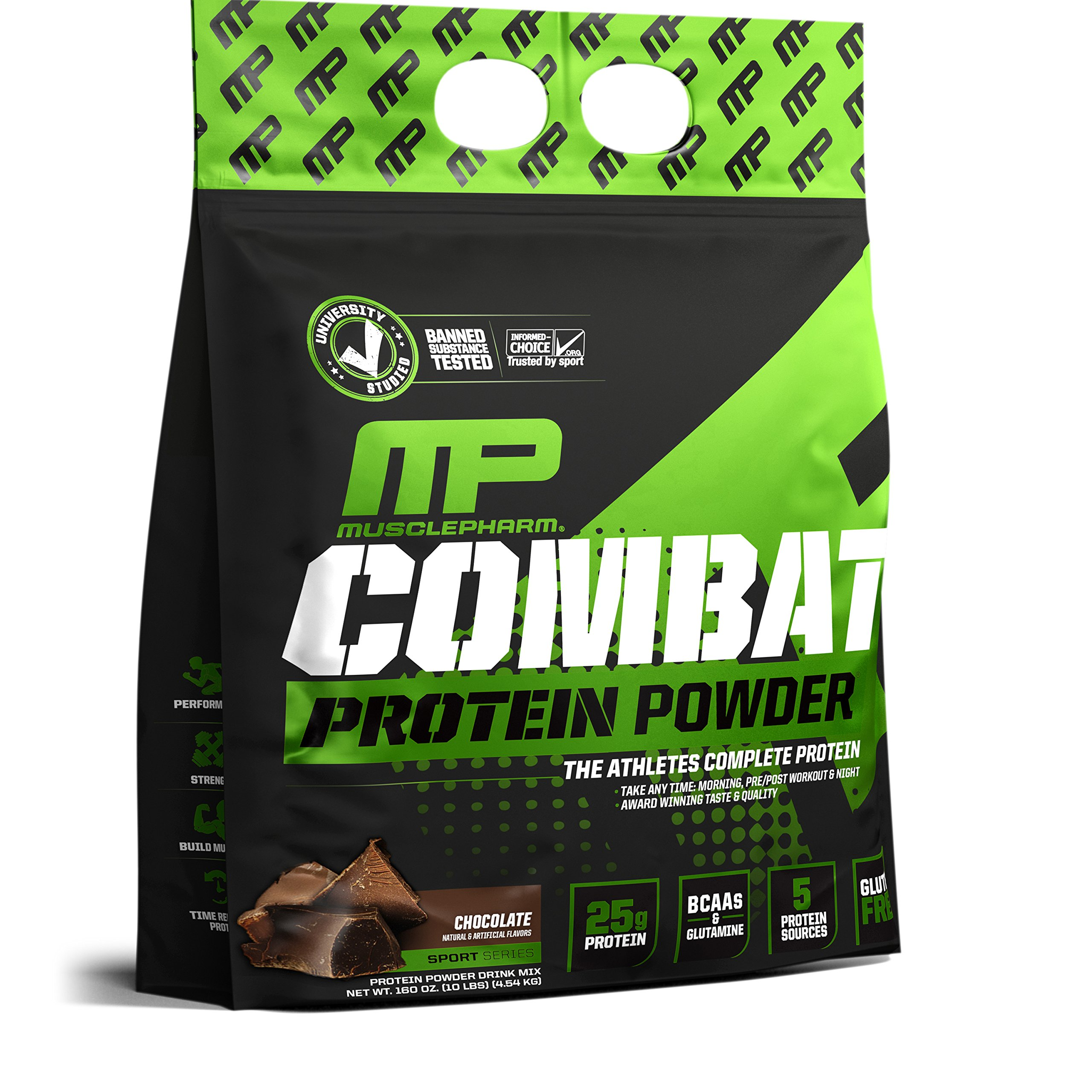 MusclePharm Combat Protein Powder, Essential Whey Protein Powder, Isolate Whey Protein, Casein and Egg Protein with BCAAs and Glutamine for Recovery, Chocolate Milk, 10-Pound, 129 Servings by Muscle Pharm (Image #8)