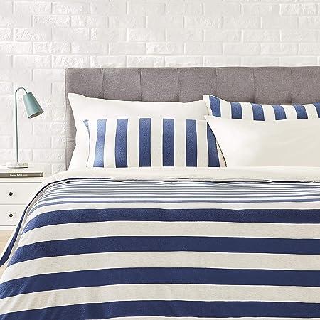 Incluye: 1 juego de funda nórdica (200 x 200 cm) y 1 funda de almohada (50 x 80 cm),Color: Azul Mari