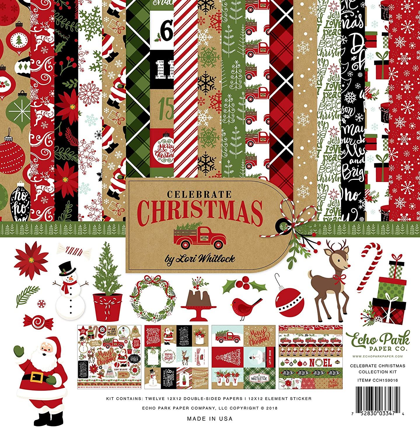 Echo Park Paper Company CCH159016 Celebrate Christmas Collection Kit Paper, Red, Green, Tan, Burlap, Black