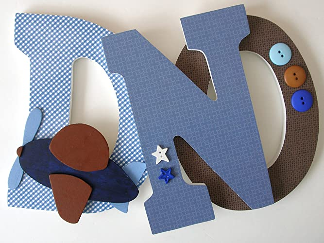 blue and brown wood nursery letters airplane bedroom decor custom wooden letters baby