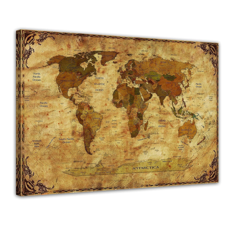 Bilderdepot24 Impression D Art Carte Du Monde Retro Ii Frame Image