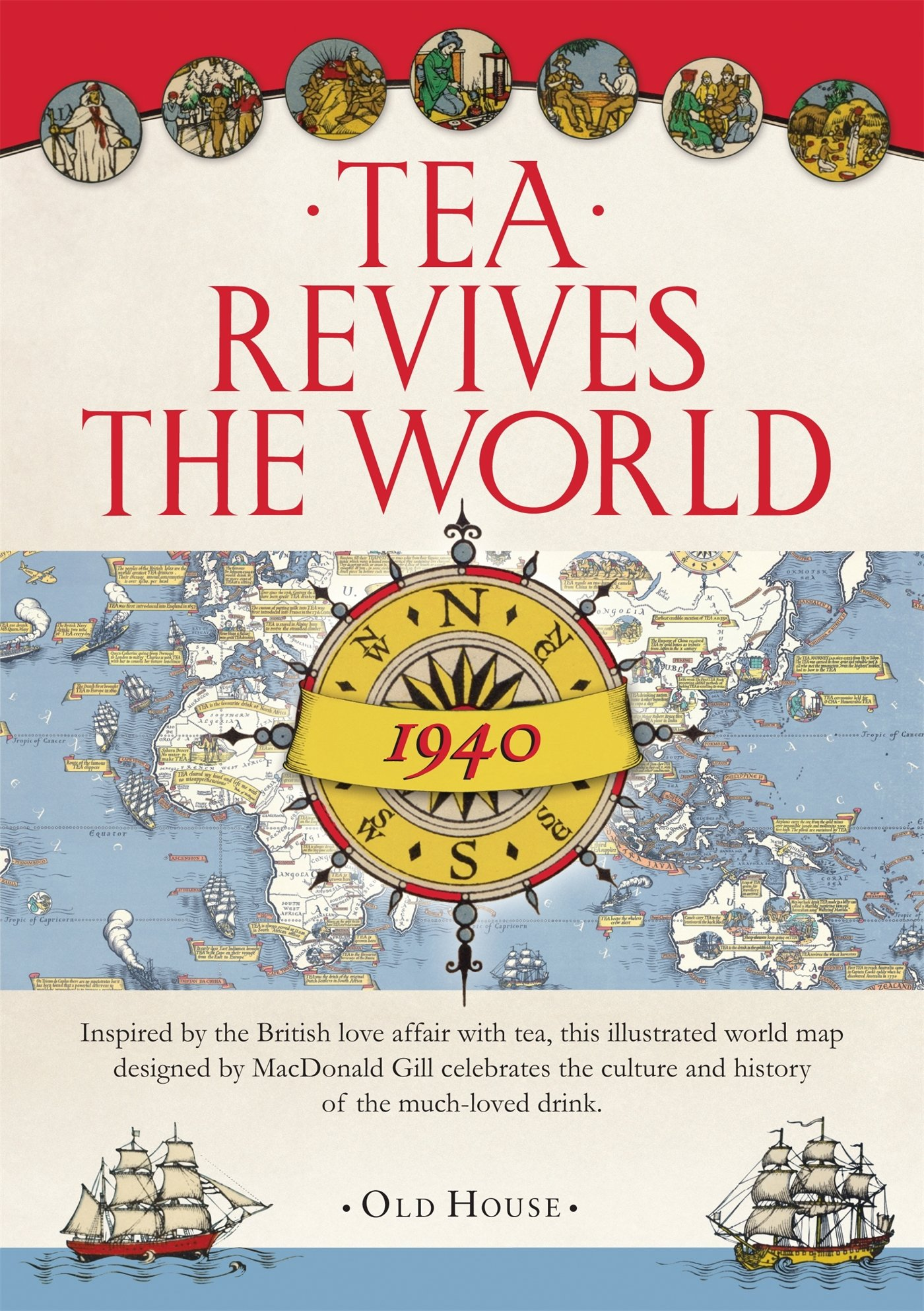 Gill\'s Tea Revives the World map, 1940 Old House: Amazon.de ...