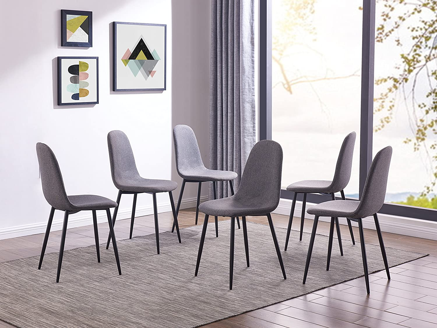 IDS Eames Style Dining Chairs Fabric Cushion Seat Side Chair Armless Living Room Chairs Set of 6 Grey