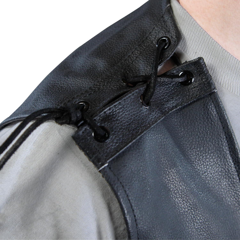 da uomo gilet in pelle da motociclista Lemoko di colore nero con lacci nelle taglies-3xl