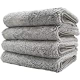 Polyte Quick Dry Lint Free Microfiber Hand Towel, 16 x 30 in, Set of 4 (Gray)
