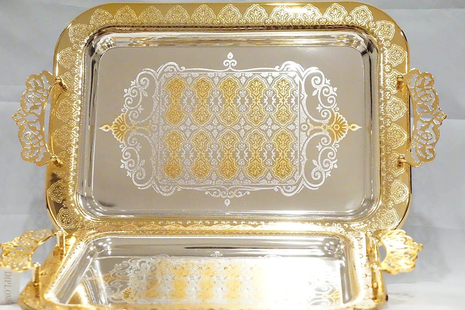 Home N Kitchenware Collection (2 Piece Set) Decorative Food/Coffee Serving Tray, Charger Plate, Mediterranean Design, Centerpieces/Home Décor Accents, Many Designs available