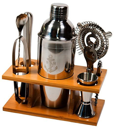 63eadbed2cf3f Stock Harbor 9 Piece Stainless Steel Bartender Set with Bamboo Base Kitchen  Accessories Cocktail Bar Tool Set