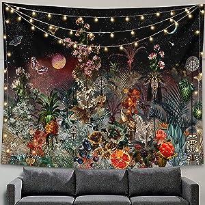 """Zussun Mysterious Garden Tapestry Sky Flower Butterflies Wall Hanging Art Flowers Tapestries Room Decor (60"""" x 80"""")"""