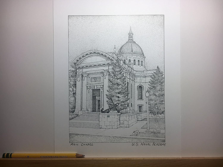 Naval Academy - Main Chapel (John Paul Jones) 8'x10' hand-drawn pen and ink print