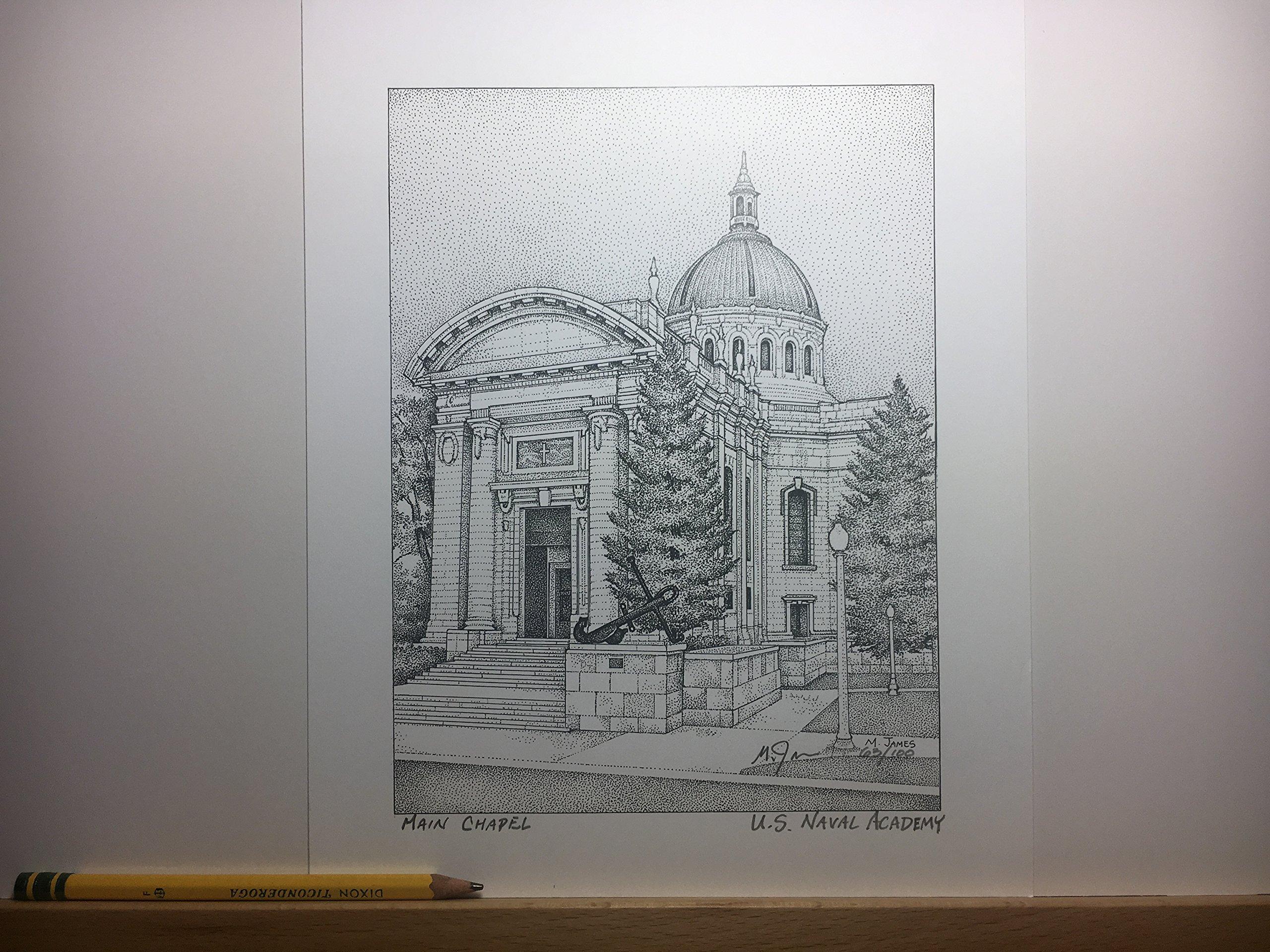 Naval Academy - Main Chapel (John Paul Jones) 8''x10'' hand-drawn pen and ink print