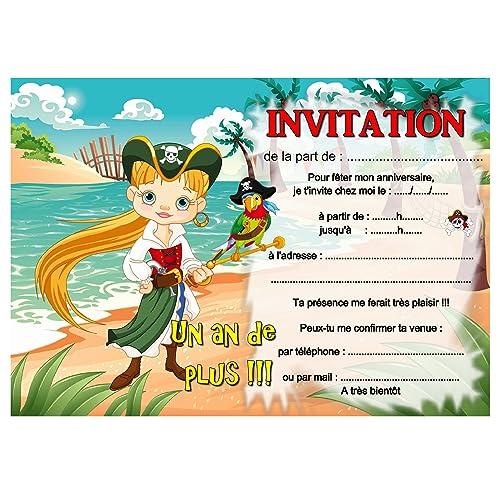 Carte Anniversaire Pirate.Cartes Invitation Anniversaire Pirate Fille Par 12 Avec Enveloppes Ref 404