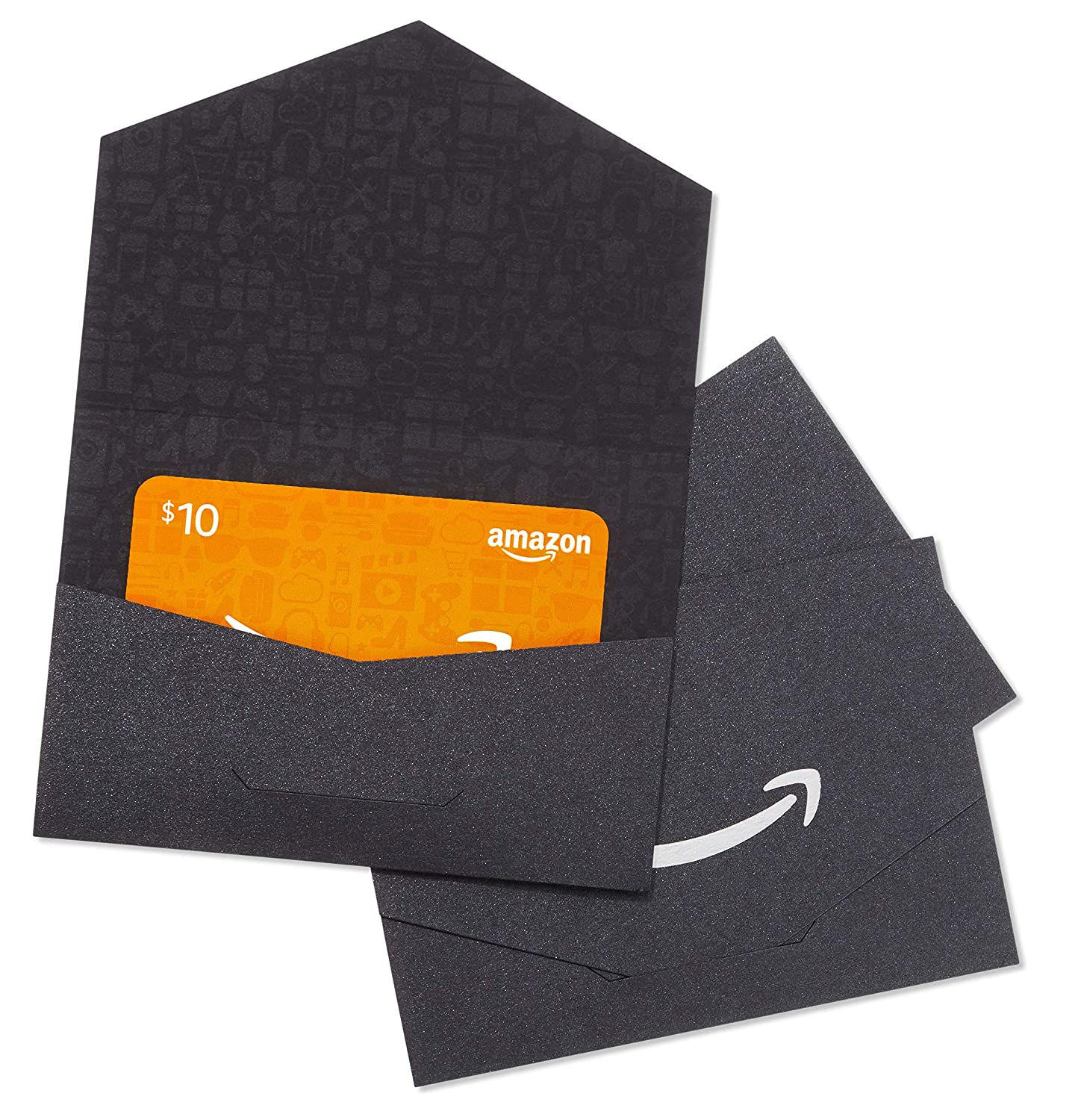 Amazon.com $10 Gift Cards - Pack of 3 Black and Silver Mini Envelopes