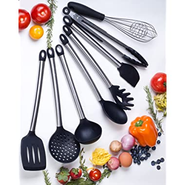 Kitchen Utensil Set- 8 Best Silicone Cooking Utensils-Non Stick Silicone Spatula Set- For Pots & Pans- Dishwasher safe-Heat Resistant,BPA Free, Premium Silicone Kitchen Utensils and Tools for Gift