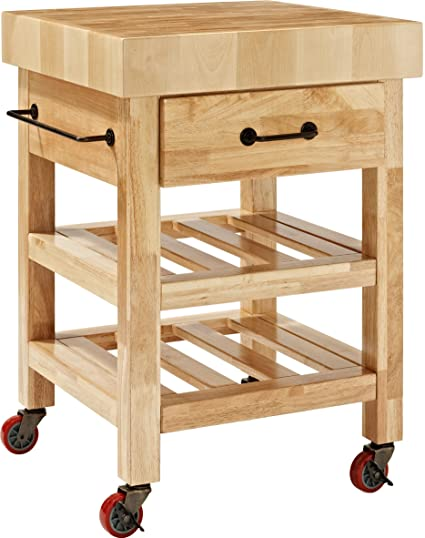 amazon com crosley furniture marston butcher block rolling kitchen rh amazon com folding kitchen cart butcher block top kitchen butcher block island cart