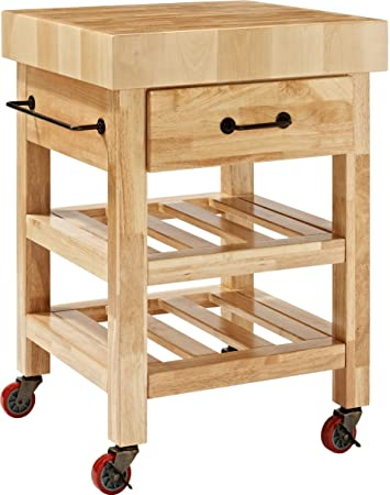 Crosley Furniture Marston Butcher Block Rolling Kitchen Cart   Natural
