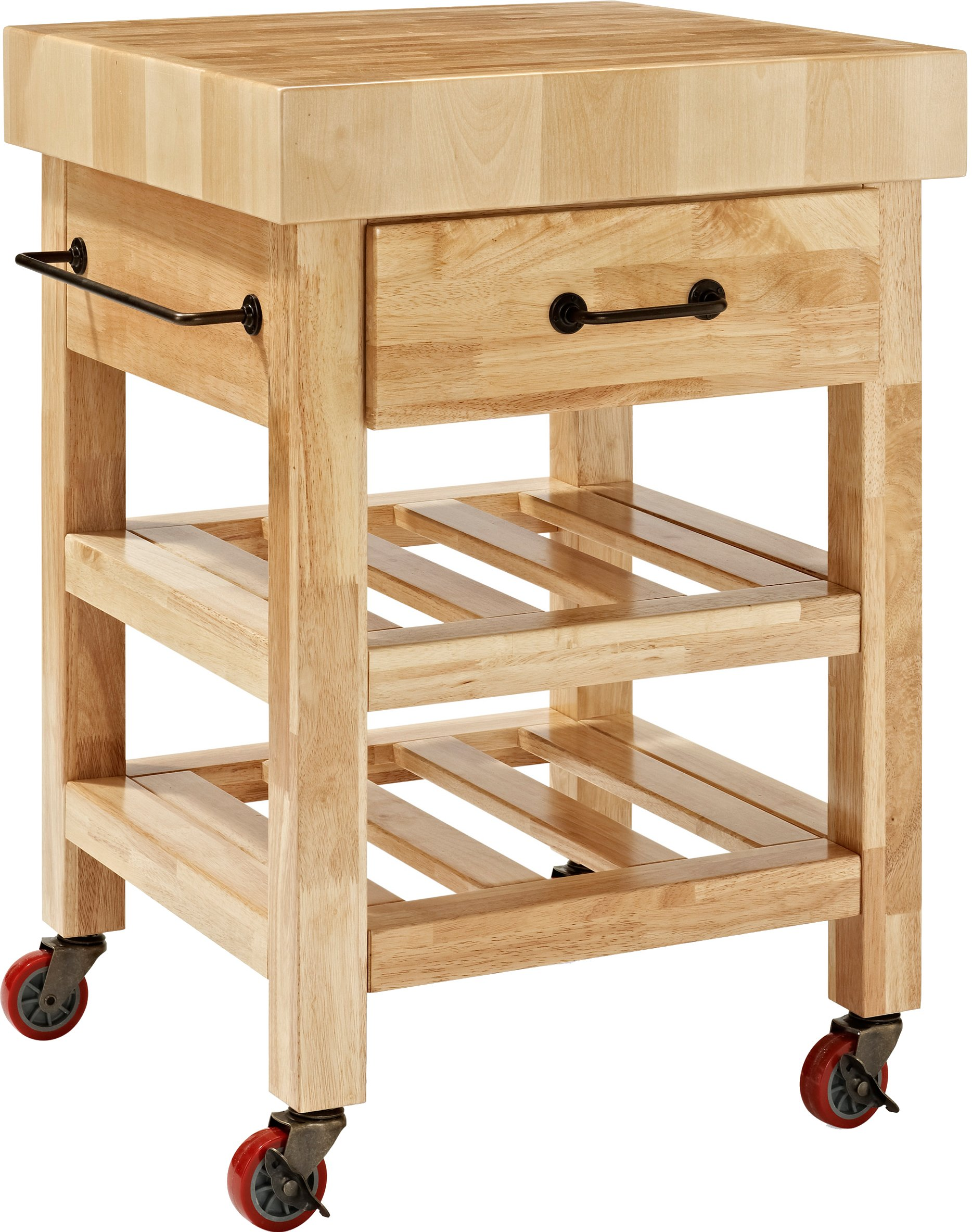Crosley Furniture Marston Butcher Block Rolling Kitchen Cart - Natural