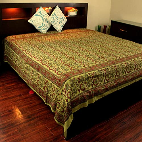 Floral Block Print Indian Tapestry Cotton Bedspread 108 x 88 Full-Queen Green
