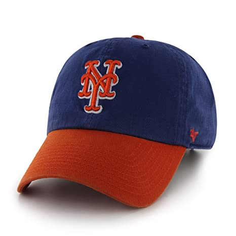 official photos 81133 50dd7 Amazon.com   MLB New York Mets  47 Brand Clean Up Two Tone Adjustable Cap,  One Size, Royal   Sports Fan Baseball Caps   Clothing