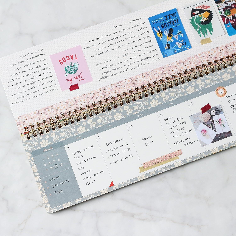 FUN DESIGN FAIR Weekly Planner Pad - Wirebound Undated Weekly Planner Pad, Weekly Scheduler Pad (Mint)