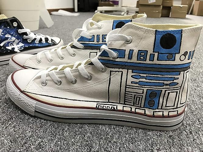 8b7af2124a Amazon.com: Men Women Sneakers Star Wars R2D2 Hand Painted Shoes ...