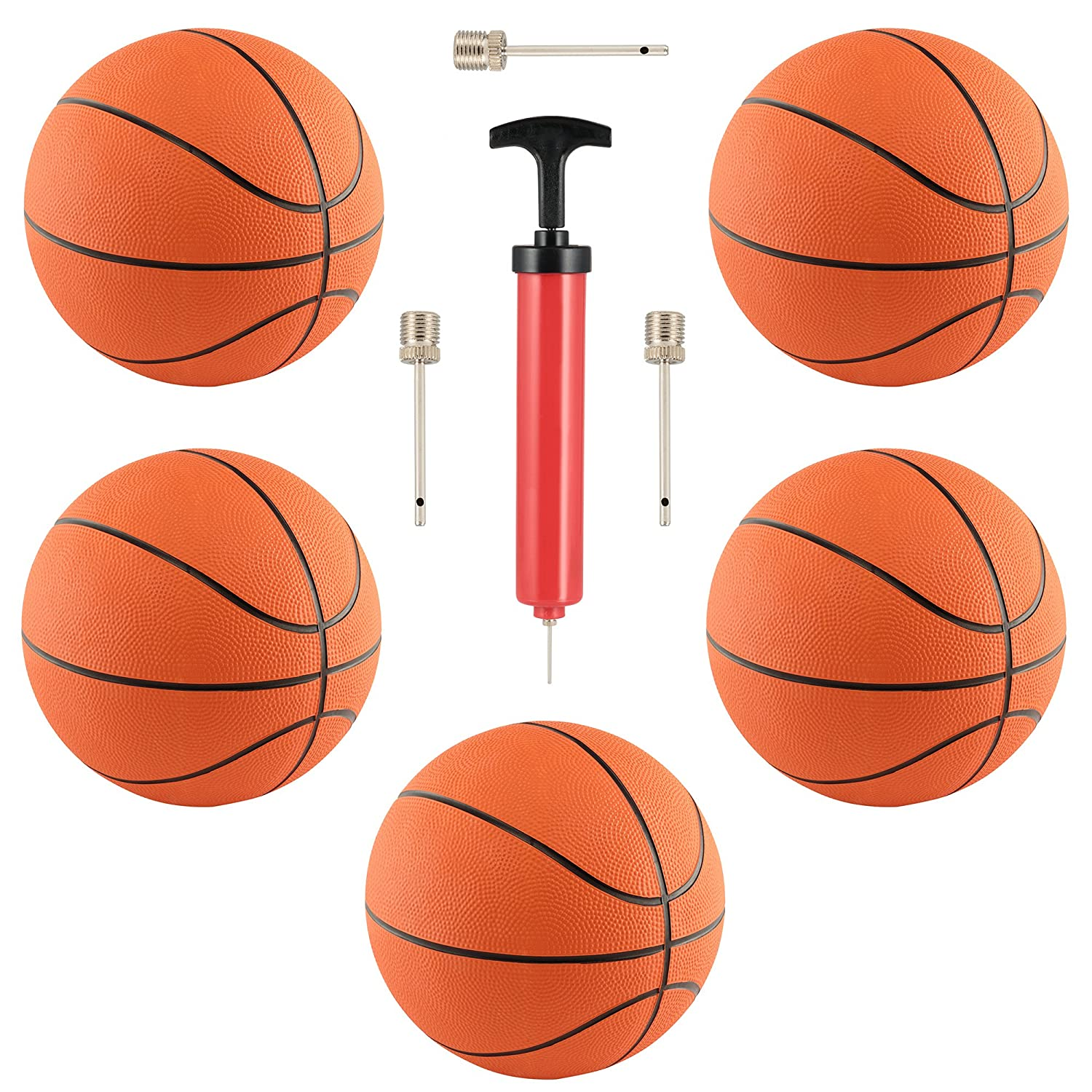 5 Pack Rubber 7 Basketballs for Indoor Outdoor Use. Includes 10 Hand Pump with Needle for Basketballs, and 3 extra needles By M M Products Online