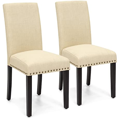 Merveilleux Best Choice Products Set Of 2 Modern Contemporary Nail Head Upholstered  Fabric Parsons Dining Chairs (