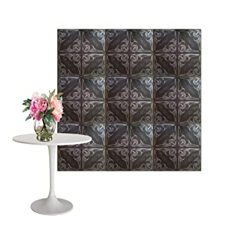 Amazonde Schwarz Silber FLOWER WALL DESIGN Board D Wand Paneele - Wandpaneele auf fliesen kleben