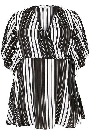 6b83a951423 Yours Women s Plus Size London   White Striped Chiffon Wrap Blouse Size ...