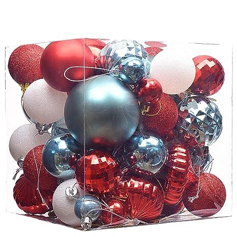 Christbaumkugeln Plastik Rot.Victor S Workshop 50pcs 40 80mm Weihnachtskugeln Plastik Set Christbaumkugeln Rot Und Blau