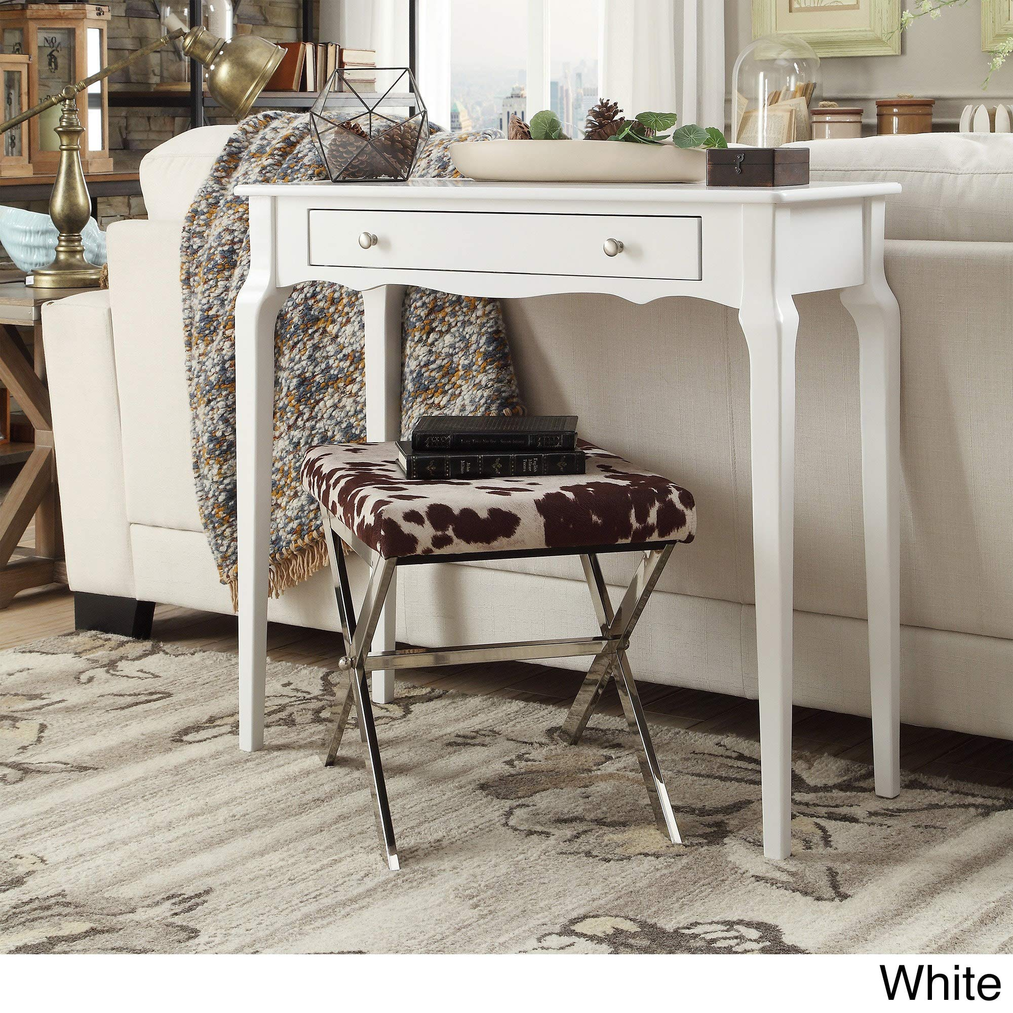 Inspire Q Daniella 1-Drawer Wood Accent Console Sofa Table by Bold White Painted by Inspire Q